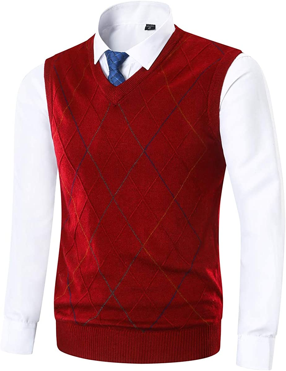 Yingqible Classic Mens V-Neck Sleeveless Jumper Vest Knitted Gilet Slipover Waistcoat Sweater Tank Tops Argyle