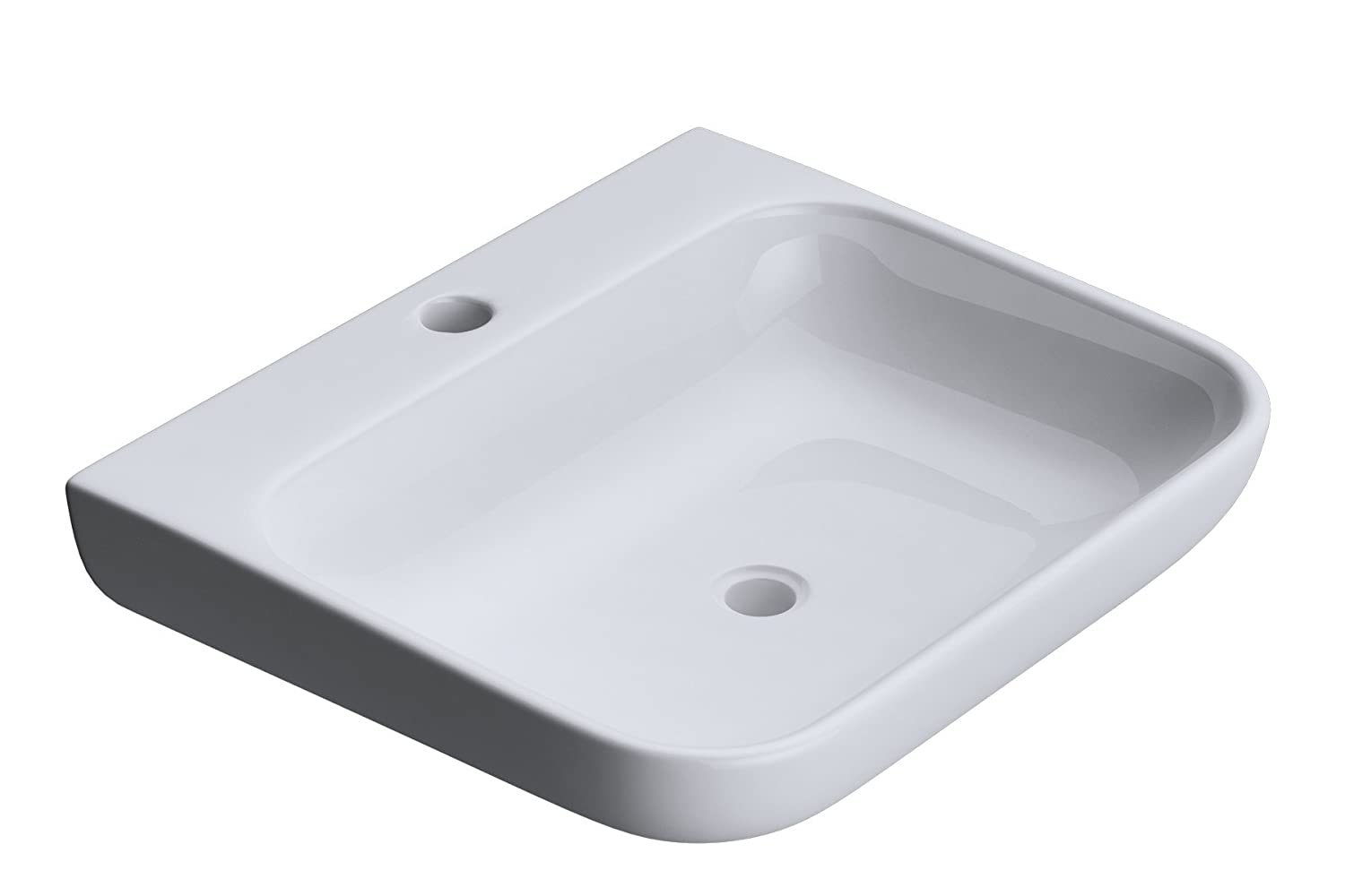 480 x 410 x 110mm (WxDxH) Durovin Bathrooms Luxurious Stone Resin Wash Basin   Wall Hung Or Counter Top Mount Rounded Bathroom Sink   One Tap Hole