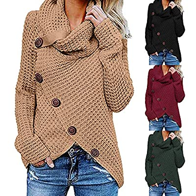 WOCACHI Womens Knit Blouses Long Sleeve Sweater Sweatshirt Pullover Tops Shirts