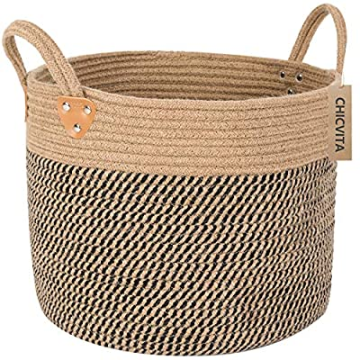 """CHICVITA Large Jute Basket Woven Storage Basket with Handles – Natural Jute Laundry Basket Toy Towels Blanket Basket Home Decor, 14"""" x 14"""" x 12"""" - EXPENSIVE MATERIAL - As we all know, jute is known for its firmness, its cost is much more expensive than the average cotton rope, and the jute storage basket made by our special process is is easier to stand and more durable than cotton rope basket. Due to it being shipped flat it does take some time to reshape the basket so that it will stand on it's own ALL WEATHER USE - 100% natural jute fibers are treated with a special oil to increase natural resistance to moisture and weather. Threads remain strong in water, rain, wind, sun, and snow NATURAL MATERIALS & ECO-FRIENDLY - These beautifully woven baskets are made with jute rope and cotton rope - all natural woven materials are very environmental with no smell that will give your home a more comfortable and more secure feel - living-room-decor, living-room, baskets-storage - 61FVS1AZVML. SS400  -"""