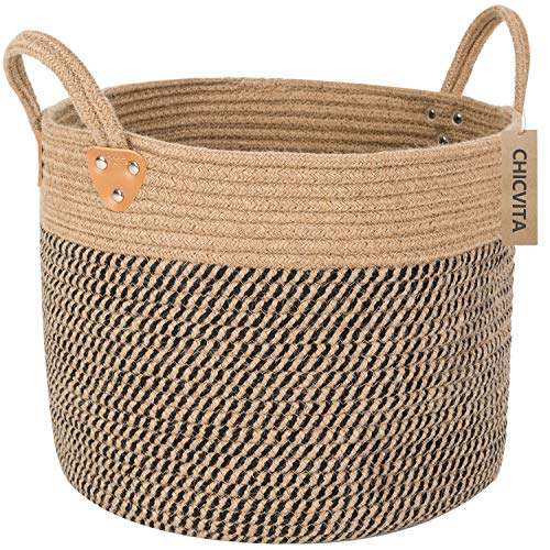 Baskets With Handles (CHICVITA Large Jute Basket Woven Storage Basket with Handles - Natural Jute Laundry Basket Toy Towels Blanket Basket Home Decor, 14