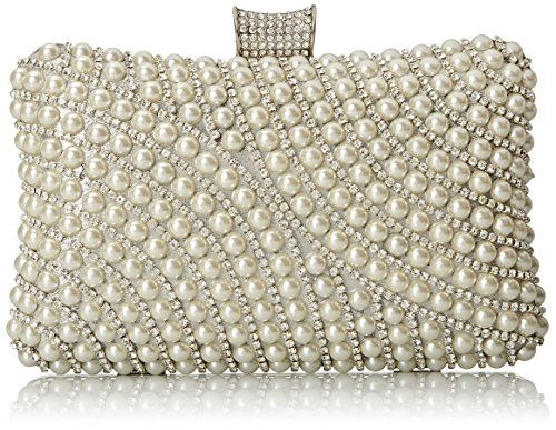 MG Collection Bianka Modern Chic Pearl Rhinestone Embellished Baguette Purse Evening Bag Silver One Size