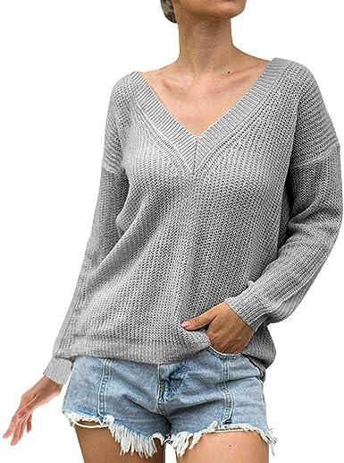 Tops Mujer Sexys LANSKIRT Camisetas Mujer Manga Larga Suéter Talla Grande Color Sólido Escote V Tejer Blusas de Otoño 2019 Jersey Camisas Tallas Grandes S-XXXXXL: Amazon.es: Ropa y accesorios