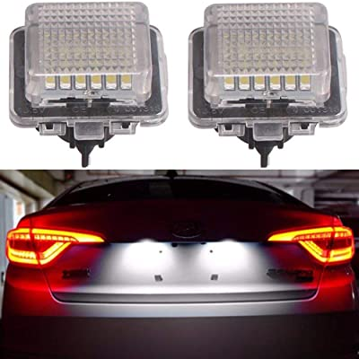Car License Plate LED Lights 24-3528-SMD Lamp Assembly for Mercedes-benz C E S CL Class Error Free 3W 18 Led White License Plate 2-pack: Automotive
