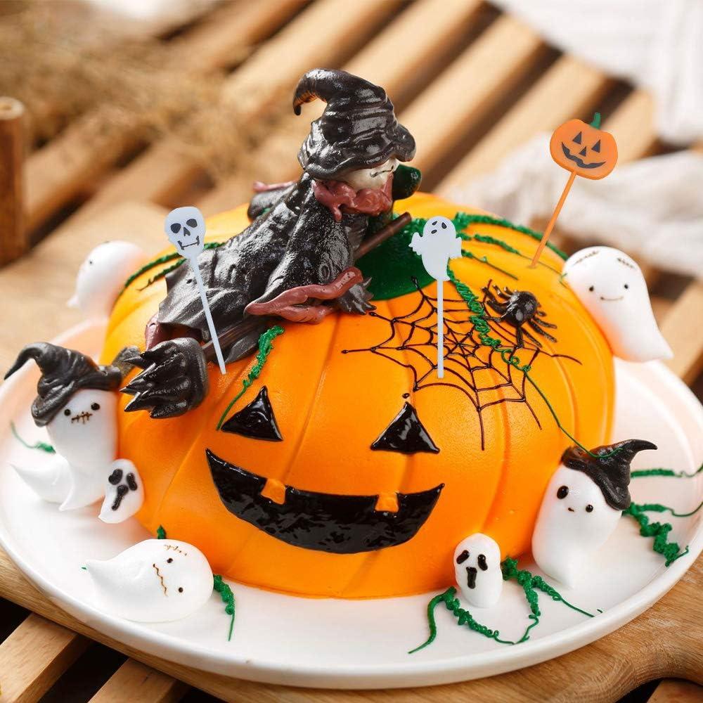 KingYH 60 Pi/èces Halloween Cupcake Topper Citrouille G/âteau Cupcake Toppers Picks Chauve-Souris Fant/ôme Ins/érer des Cartes Toothpick pour Halloween F/ête D/écoration Salade G/âteau Dessert