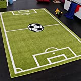 Paco Home, Football Sports Field, Rug for Boys, Green and White, 80 x 150 cm