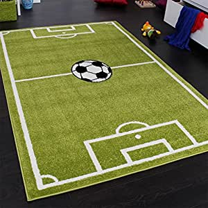 Paco Home Alfombra Infantil - Diseño Campo De Fútbol - Verde, tamaño:240x320 cm