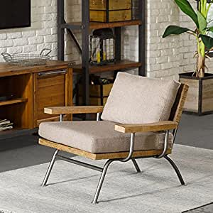 renu industrial lounge accent chair metal and wood frame with removable cushions tan - Wood Frame Chair