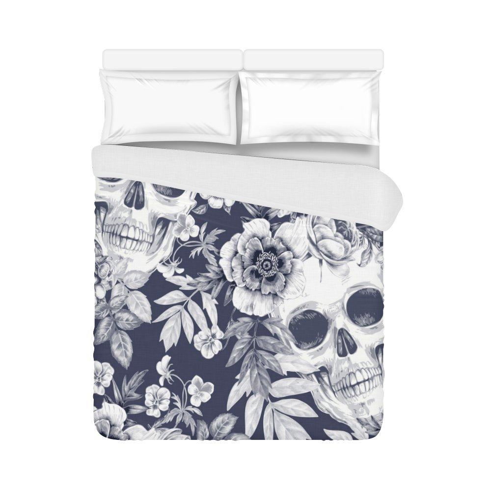 your-fantasia Retro Flower Sugar Skull Home Bedding Duvet Cover Quilt Cover 86 x 70 Inches