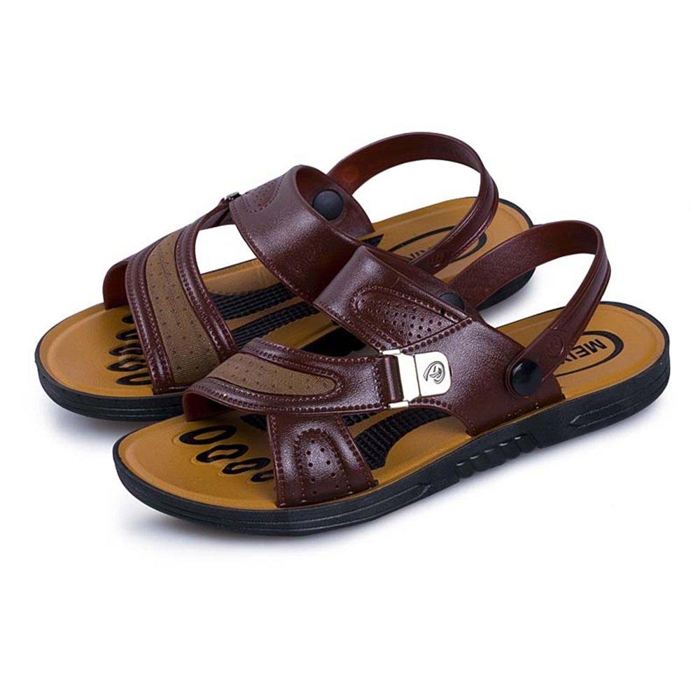 Las Sandalias de los Hombres Son Casuales y el Cuero de la PU es Antideslizante y Respirable al Aire Libre Zapatillas anfibias de la Playa 43 EU|Marrón