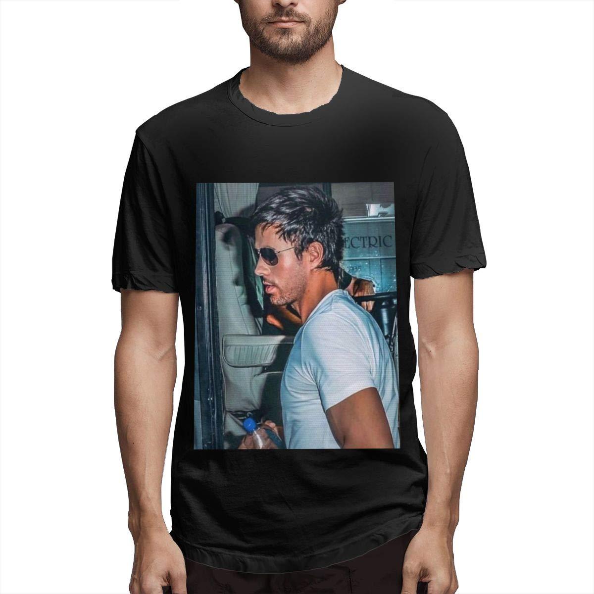 Lihehen S Enrique Iglesias Retro Printing Round Neck Shirts