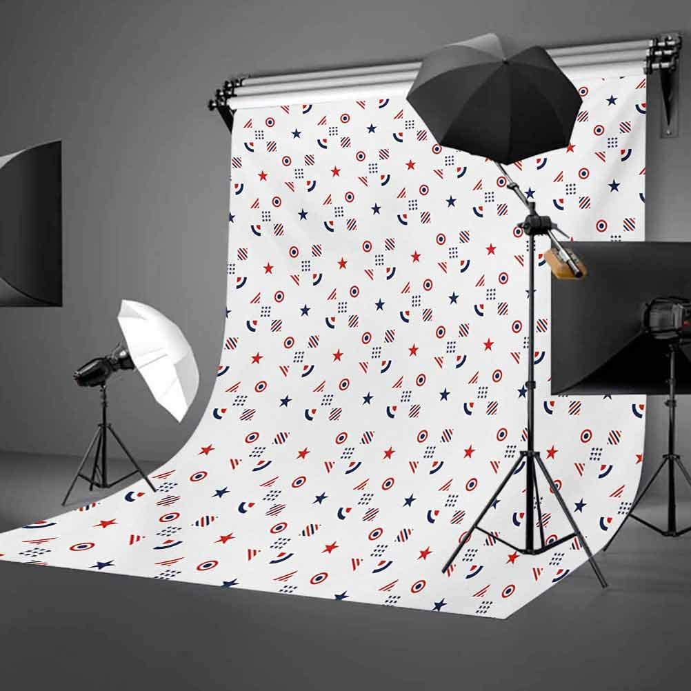 Indigo 8x10 FT Photo Backdrops,Floral Tribal Detailed Squares Patchwork Inspired Image Background for Kid Baby Boy Girl Artistic Portrait Photo Shoot Studio Props Video Drape Vinyl
