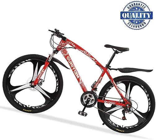 26 Bicicleta De Carretera, 24 Velocidad Bicicleta Montaña De Carbon Acero con Suspensión, Doble Freno De Disco Mecánico Bicis MTB para Mujer Hombre,Rojo,3 Spokes: Amazon.es: Hogar