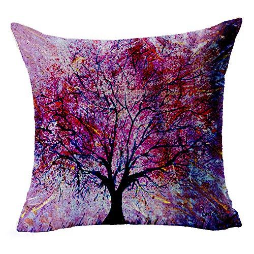 "LYN Cotton Linen Square Throw Pillow Case Decorative Cushion Cover Pillowcase for Sofa 18""X 18"" Tree Pillow Covers"