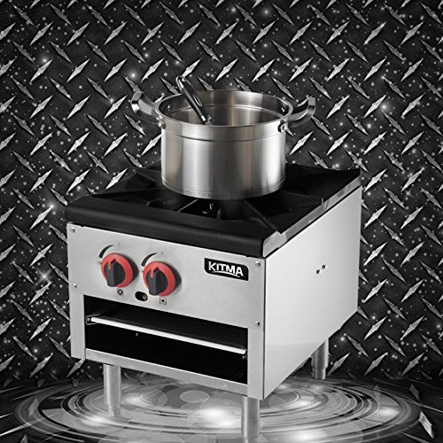 18 Inches Single Stock Pot Stove - KITMA Natural Gas Countertop Stock Pot Range with 2 Manual Controls - Restaurant Equipment for Soups by Kitma (Image #6)