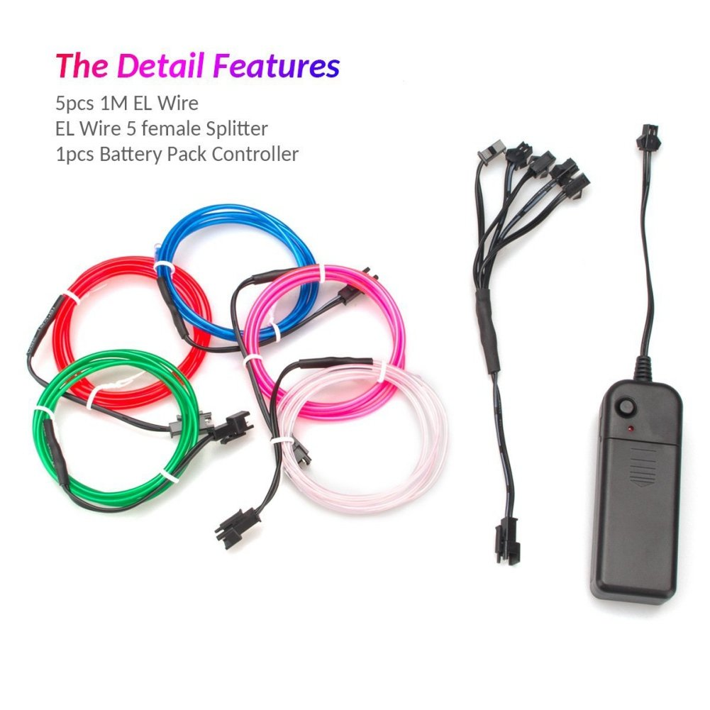 5 X 1 Meter EL Wire Neon Glowing Strobing Licht mit AA Batterie ...