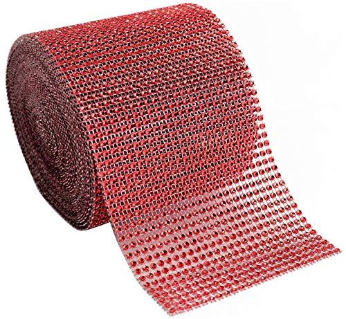 Blackbag Diamond Rhinestone Mesh Ribbon Supreme Quality Sparkling Bling Wrap Ribbon Bulk DIY Roll for Arts Crafts Party Decorations, 4.75 x 10 Yards, 24 Row, 1 Roll (Red, 4.75 x 10 Yards)