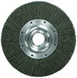 Weiler Trulock Wide Face Wire Wheel Brush, Round Hole, Steel, Crimped Wire, 8'' Diameter, 0.014'' Wire Diameter, 2'' Arbor, 1-3/8'' Bristle Length, 1-1/2'' Brush Face Width, 4500 rpm