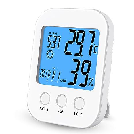 Termómetro Higrómetro, YiCutte Digital Thermo-higrómetro Monitor de humedad y temperatura interior con pantalla