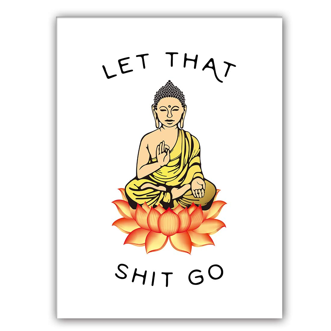 "Let That Shit Go Art Print Set of 1 (12""X16"" Zen Printing Yoga Room Decoration Canvas Buddhist Prints Wall Pictures Room Home Decor,No Frame"