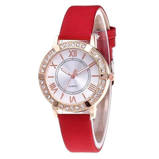 QinMM Reloj de pulsera de cuarzo analógico con banda de cuero muñeca diamante para mujer (Rojo): Amazon.es: Relojes