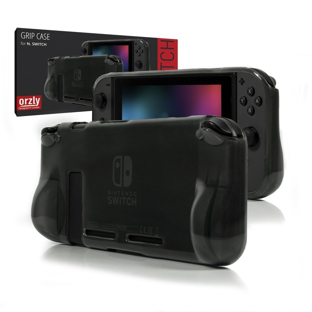 ORZLY® Comfort Grip Case for Nintendo Switch - Protective Back Cover for use on the Nintendo Switch Console in Handheld GamePad Mode with built in Comfort Padded Hand Grips - SMOKEY SLATE product image
