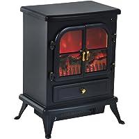 HOMCOM Chimenea Eléctrica de Pie Movible y Decorativo Calefactor Estufa 950/1850W Llama LED con Remoto Control Termostato…