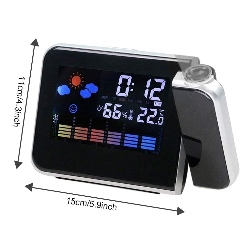 Hangrui Relojes de Proyección, Despertador proyector Despertador Digital con Temperatura Interior, LED Alarma, Puerto de Carga USB, Negro: Amazon.es: Hogar