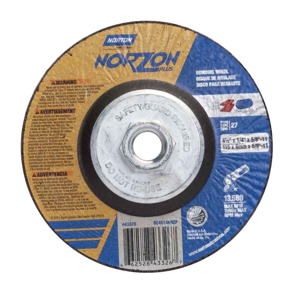 Norton 66252843326 4-1/2''X1/4''X5/8-11 TYPE27 NORZON PLUS WHEEL by Norton Abrasives - St. Gobain