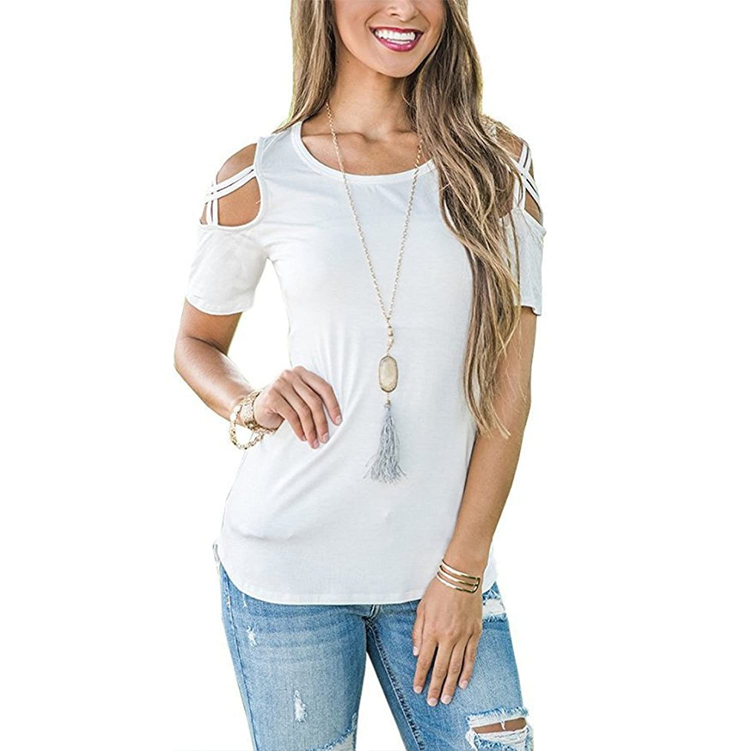 930a6839c62f4 Summer Short Sleeve Strappy Cold Shoulder T-Shirt Tops Blouses Unique look  of this short sleeve top features cold shoulder cutouts, strappy details  within ...