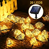 Solar String Lights Outdoor, Adecorty Solar Fairy String Lights 3D Metal Leaf 16ft 20LED Solar Ornament Lights Waterproof Solar Decoration Lights for Outdoor Decor Garden Patio Yard Tree Wedding Party