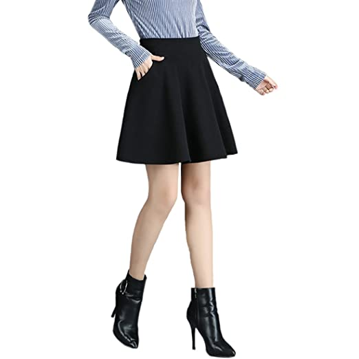 0f0989b1f May Story Women's Basic Solid Stretchy A-Line Mini Skirt Flared Skater With  Pockets