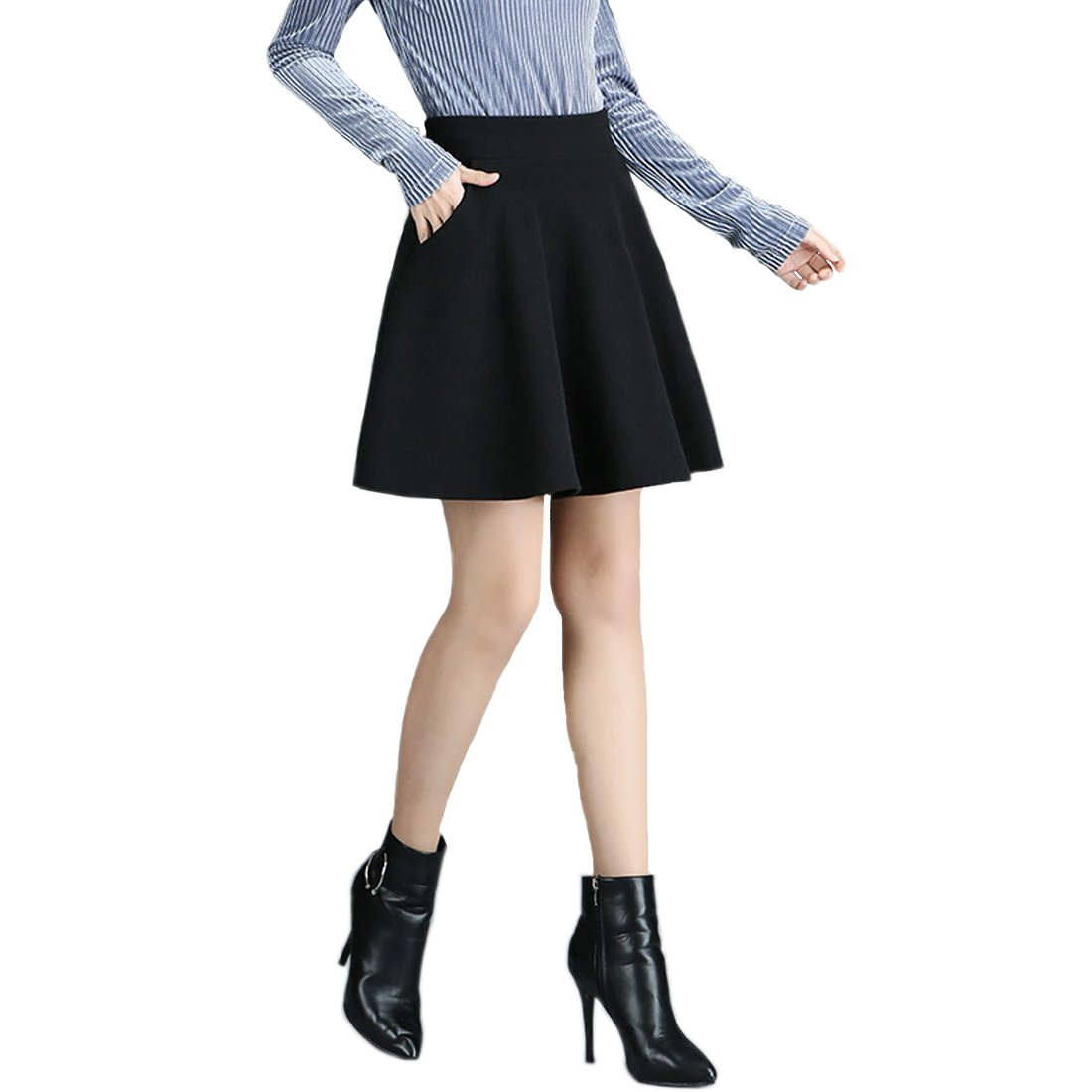 May Story Women's Basic Solid Stretchy A-Line Mini Skirt Flared Skater With Pockets