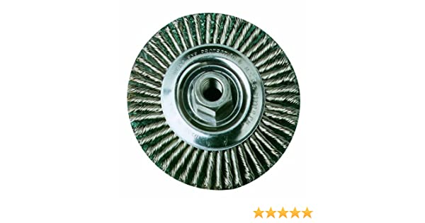 SAIT 06445 4 x .020 x 5//8-11 Arbor Stainless Bristle Stringer Bead Knot /& Crimped Style Angle Grinder Wire Wheel United Abrasives
