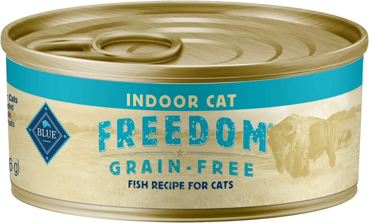 Blue Buffalo Freedom Grain Free Natural Adult Pate Wet Cat Food Indoor Fish 5.5-oz cans (Pack of 24)