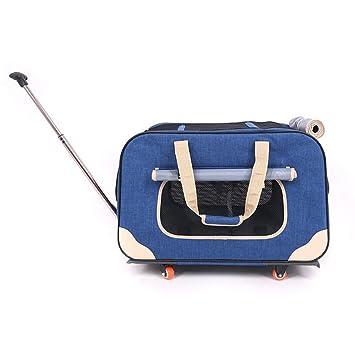 Balanceo De Mascotas Portador con Desmontable Cuatro Ruedas Perro Gato Viajar Mochila Portátil Equipaje Bolso Trolley Box. Cacoffay,Blue: Amazon.es: ...