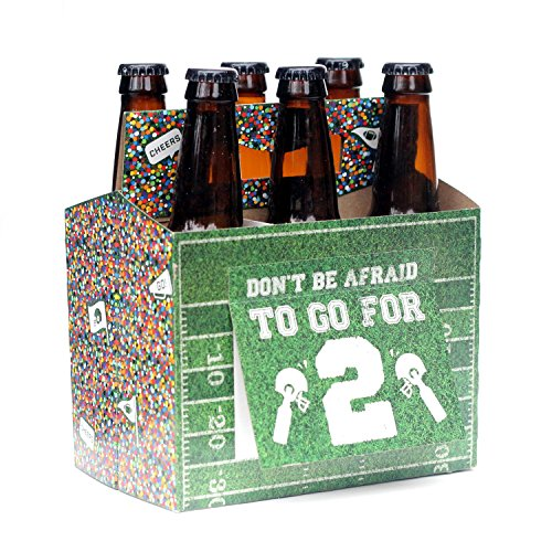 Beer Gift for Football Fan - Six Pack Greeting Card Box (Set of 4) - Great for Beer Football Party Supplies, Beer Gift for Coach, Beer Gift for Football Lover, or Bring to Tailgate Party