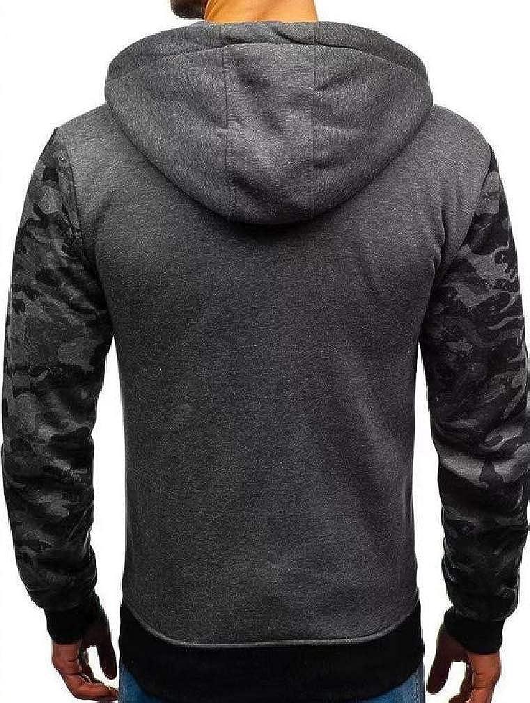 Smallwin Mens Camouflage Casual Long Sleeve Zip Up Pocket Jacket Hooded Sweatshirts