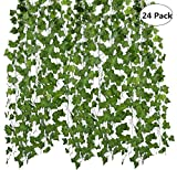 Sutesr 156 Feet 24 Pack Artificial Ivy Leaf, Fake Greenery Plants Hanging Vine Garland Foliage Leaves, for Home Kitchen Garden Restaurant Wedding Wall Decoration