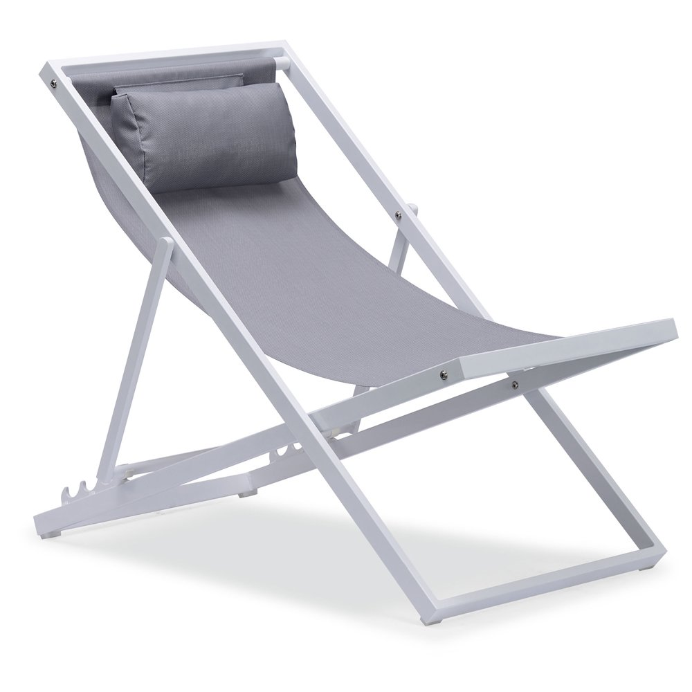 Beach Folding Chair with Headrest, Outdoor Patio Sling Chair, Lightweight Camping Chaise Lounger Chairs