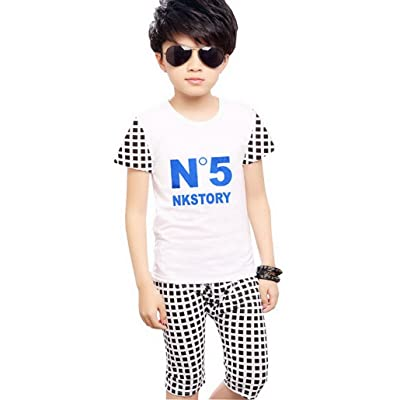 2pcs Kids Boys Summer Casual Cotton T shirt and Pants Set Outfits Clothing