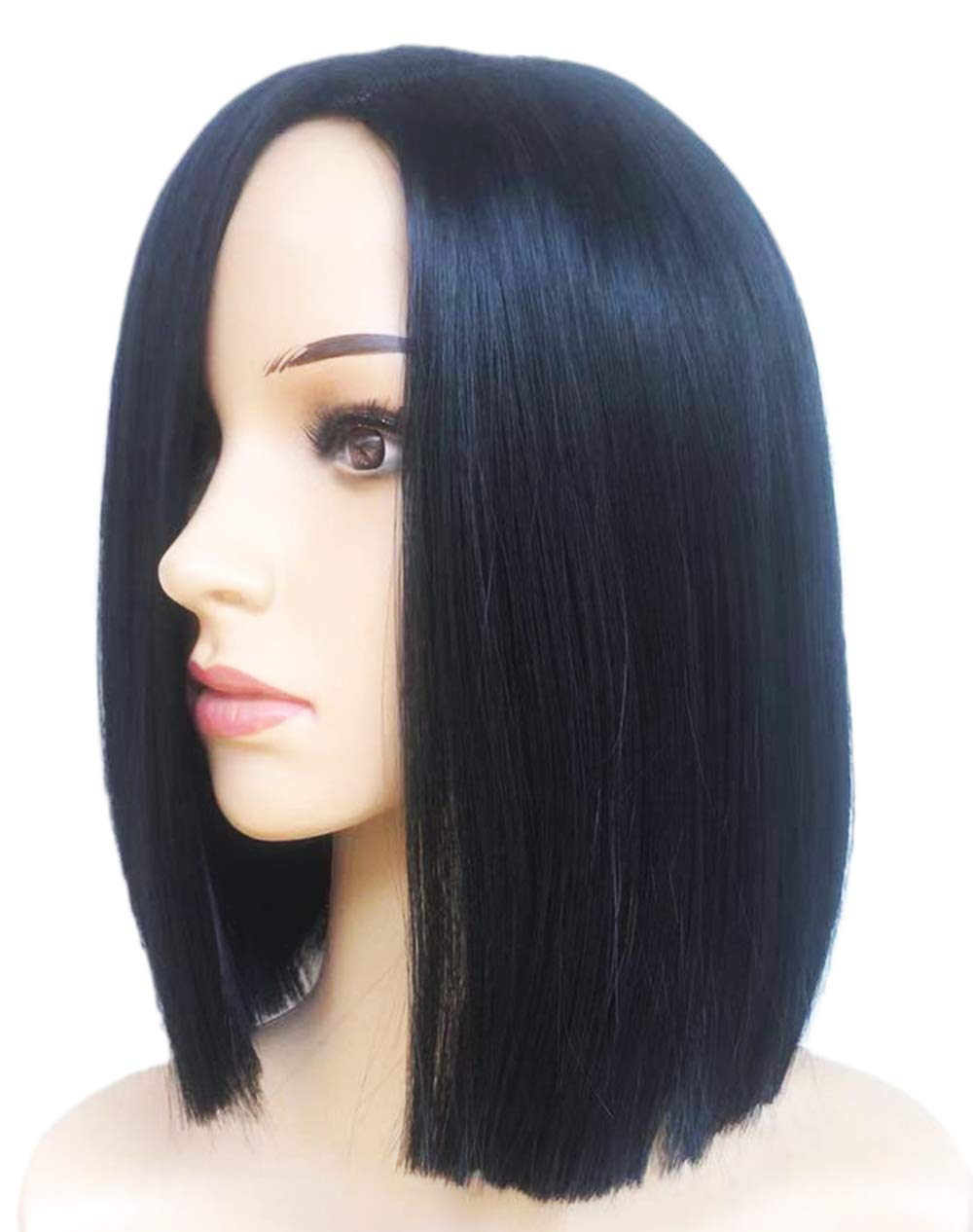BLUBOON Bob Wigs Short Straight Synthetic Hair Wig for Women Black Halloween Costume Cosplay Wigs Party Wigs (HR5054 Black-10in) by BLUBOON