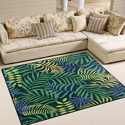ALAZA Tropical Palm Tree Leaf Area Rug Rugs for Living Room Bedroom 7'x5'