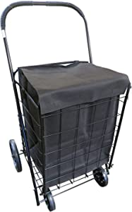 Extra Large Heavy Duty Folding All Purpose Utility Shopping Grocery Luggage Storage Cart Jumbo Size with Wheels-Capacity up to 150 lb, Black(Black Cart with Black Liner)