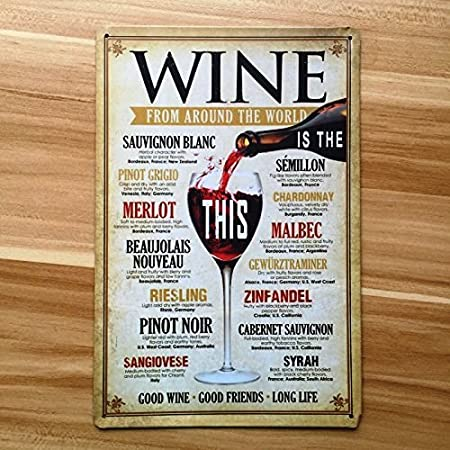 Amazon.com: Uniq diseños Wine Glass 8 x 12 inch Retro ...