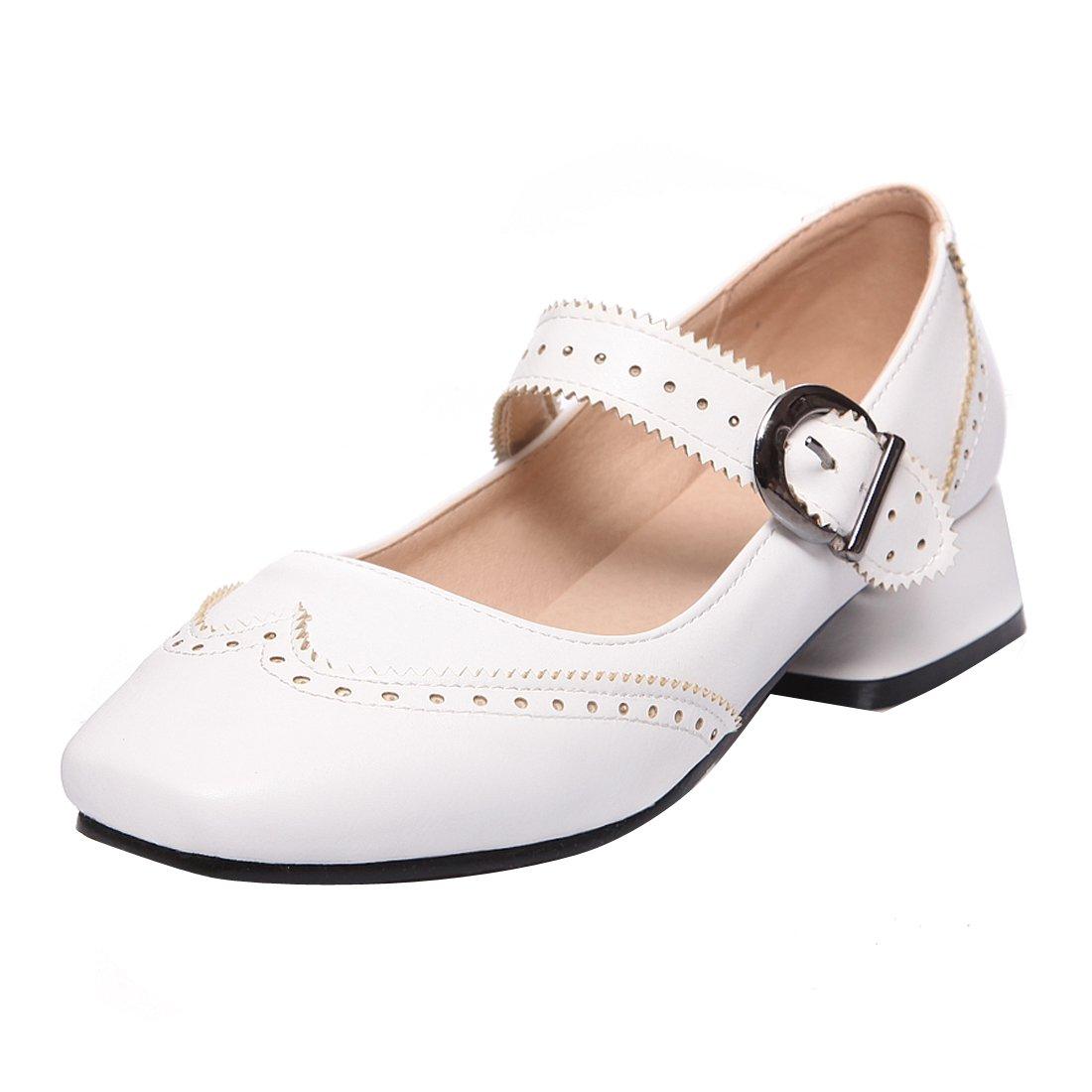 YE Damen Mary Janes Pumps Blockabsatz High Heels mit Riemchen Elegant Bequem Schuhe  38 EU|Wei?