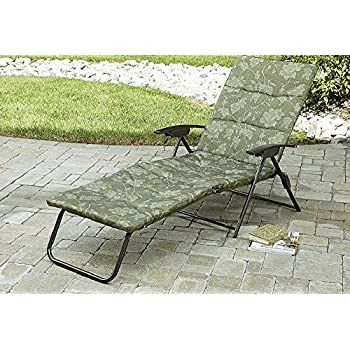 Amazon.com : Folding Padded Sling Chaise Lounger Green Outdoor ...