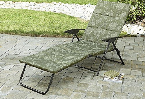 Folding Padded Sling Chaise Lounger Green Outdoor Lounge Chair Patio, Pool, Deck, & Garden Furniture. Enjoy Sun Bathing In Your New Lawn Chair! - New Chaise Lounge Chair