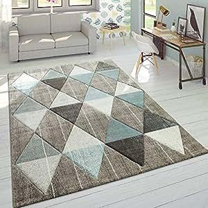 Alfombra De Diseño Moderna Contorneada En Colores Pastel con Rombos Beige Y Azul, tamaño:80x150 cm