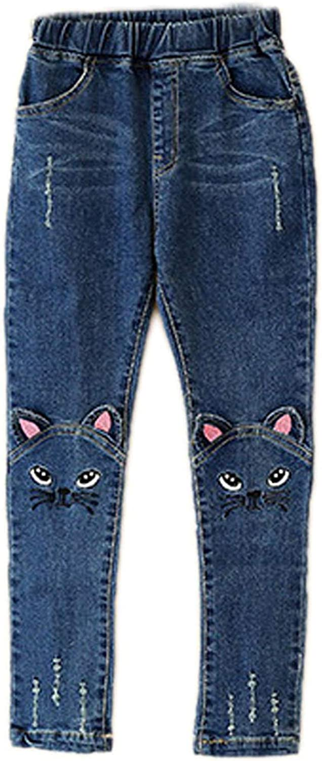 Big Girls Kids Distressed Ripped Hole Teens Jean Blue Cat Slim Denim Pants